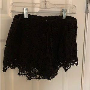 Black lace Express shorts.